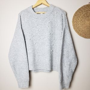 H&M Pearl and Rhinestone Embroidered Sweater Small